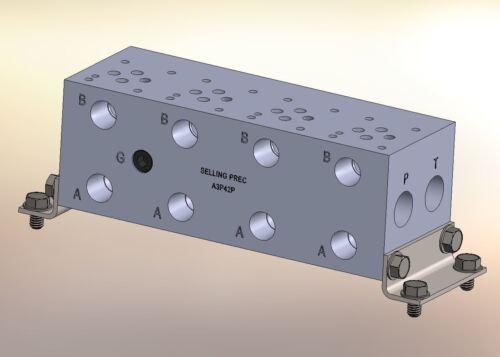 "Hydraulic manifold A3P42P D03 Parallel NPT Ports Alum  2/"" Valve Spacing 4 St"