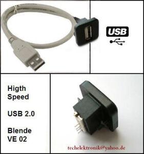 USB-Einbaubuchse-Einbausteckdose-50cm-passend-fuer-HiFi-A3-A4-C180-E200-BMW-E46