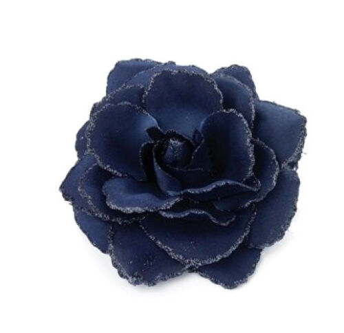 Navy Blue Dark Blue Girls Ladies Rose Flower with glitter Hair elastic and Clip