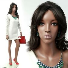 Adult Female Realistic African American Fiberglass Full Body Mannequin With Wig