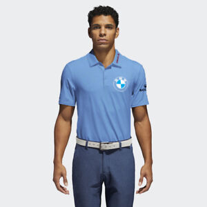 Men-039-s-Blue-Golf-Polo-PGA-sponsor-logo-BMW-Rolex-Oracle-Uber