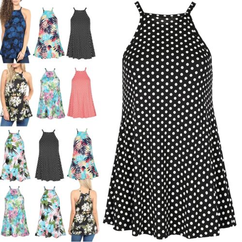 Ladies Stretchy Sleeveless Summer Beach Swing Mini Dress Womens Franky Top