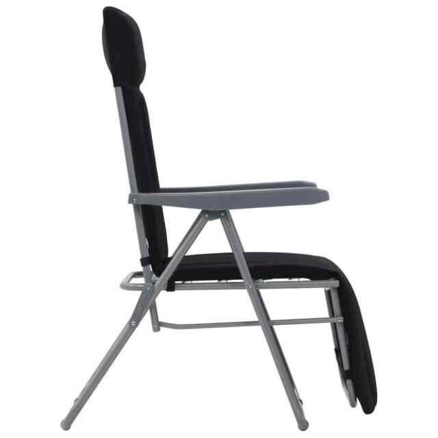 Vidaxl sedie da giardino pieghevoli con Cuscino 2 pz nere