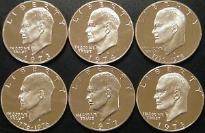 1973-1978-S-Eisenhower-Dollar-DCam-Proof-Run-CN-Clad-Ike-Lot-US-Mint-6-Coin-Set