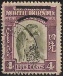 NORTH-BORNEO-1947-ROYAL-CYPHER-4C-MONKEY-USED