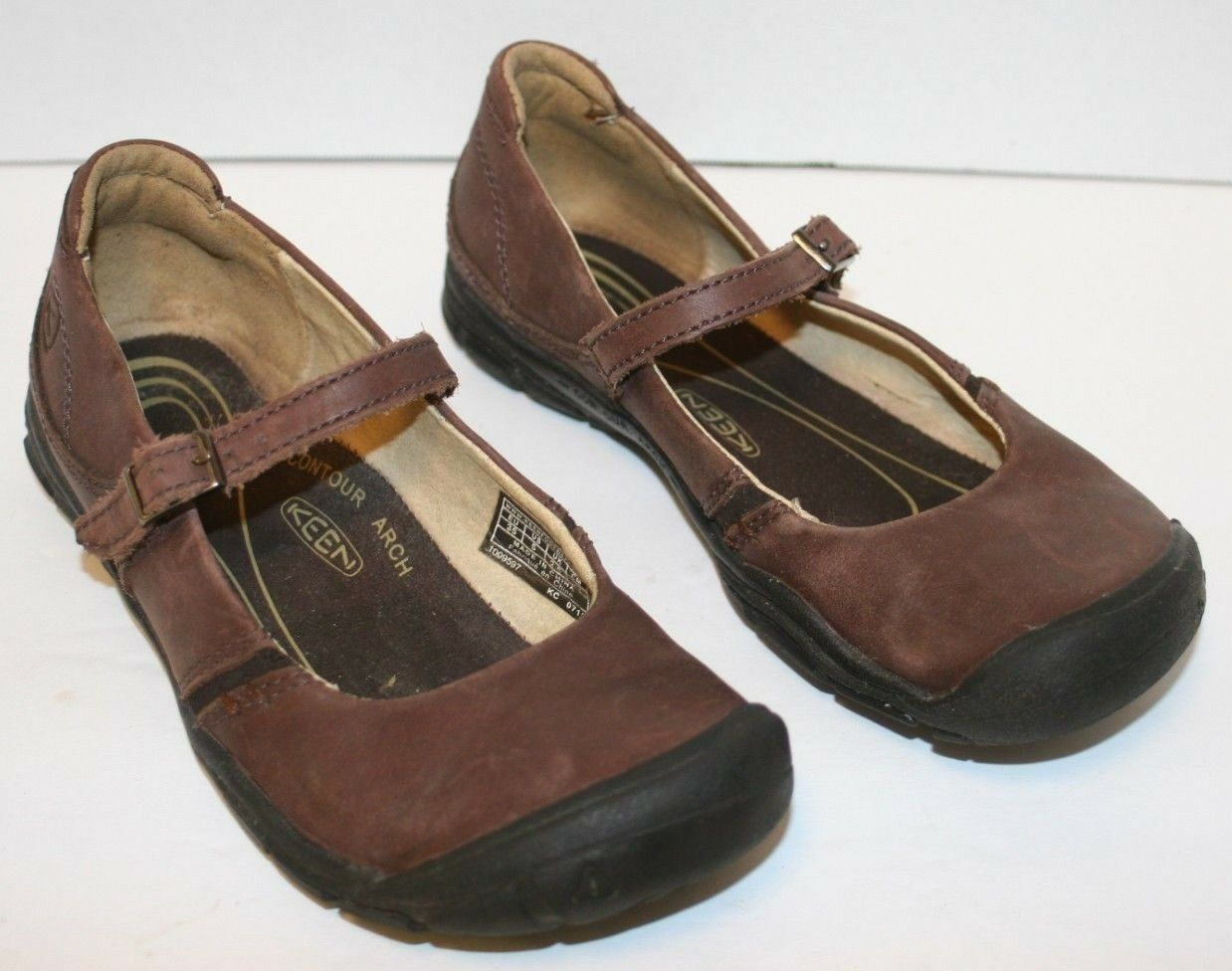 Pre-Owned Women's KEEN Brown Leather Delancey CNX Mary Jane sz 5,