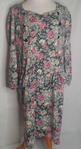 Vintage 90's Homemade XL XXL Dress Knit Floral Ruffled Roses Long Sleeve Retro