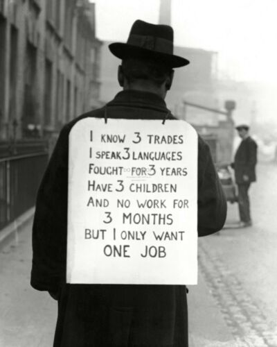 MAN WITH SIGN ASKING FOR WORK DURING THE GREAT DEPRESSION FB-960 8X10 PHOTO