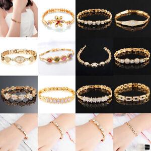 Fashion-Women-039-s-18K-Gold-Plated-Crystal-Bracelet-Charm-Cuff-Bangle-Chain-Jewelry