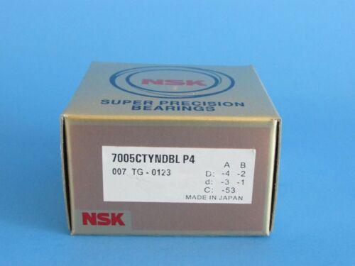 NSK 7005CTYNDBLP4 Abec-7 Super Precision Spindle Bearings. Set of Two