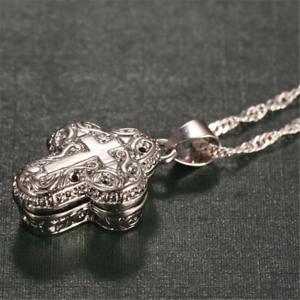 Locket-925-Silver-Magnet-Cross-Pendant-Chain-Necklace-Fashion-Women-Man-Jewelry