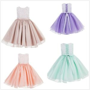 8cc5874a0bc Image is loading Lace-Flower-Girl-Dresses-Organza-Dresses-Birthday-Girl-