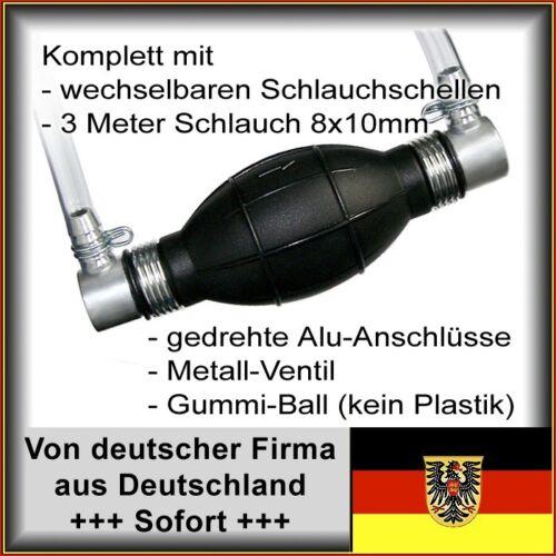 8//10mm Anschl. Kraftstoffpumpe Pumpball mit Schlauch + Schlauchklemmen abgew