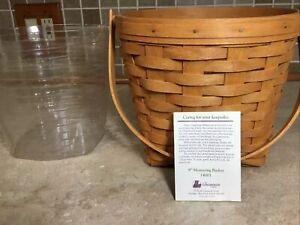 "Longaberger 1994  Medium MEASURING Basket With Swing Handle & Protector 8 1/2""t"