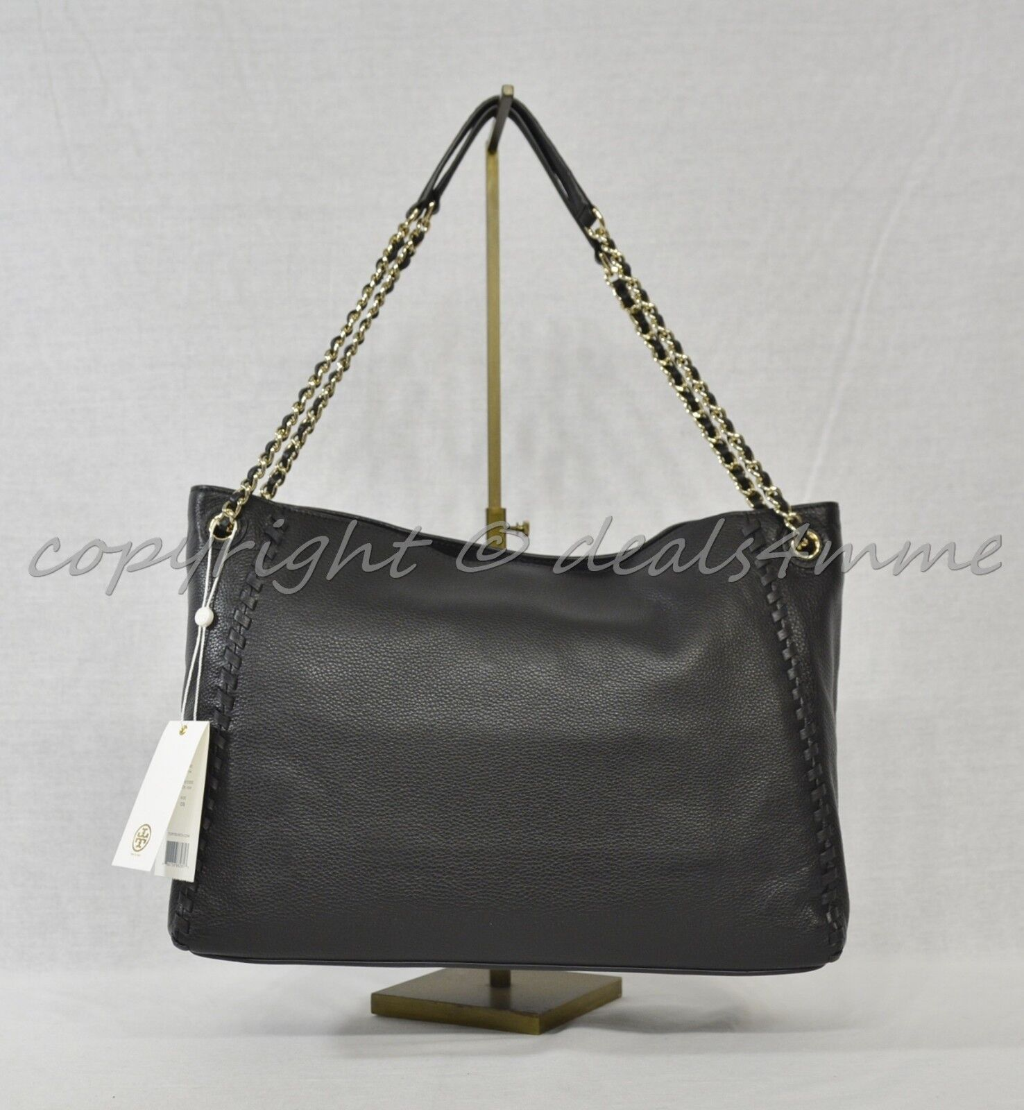 e7b53657aaac Tory Burch Marion Whipstitched Leather Slouchy Tote Shoulder Bag Black for  sale online