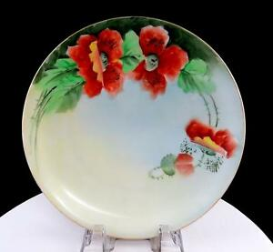 CT-ALTWASSER-GERMANY-HAND-PAINTED-RED-POPPIES-7-1-2-034-DESSERT-PLATE-1925-1932