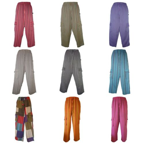 Hippy Unisex Baggy Cotton Trousers in Red Stripes with cargo side pockets