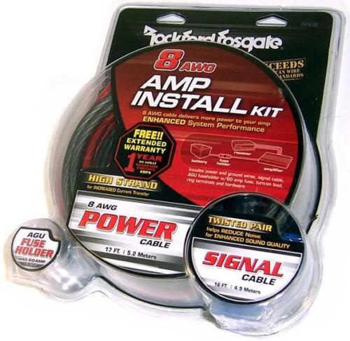 Rockford Fosgate RFK8I Complete 8 Gauge Amplifier Install Sub Woofer Kit Amp
