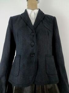 New-Club-Monaco-Women-Gillian-Blazer-Size-12-Charcoal-Gray-Pinstripe-Wool-Career