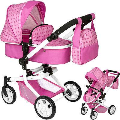 Bayer Chic 2000 Puppenwagen Mika 2in1 Sternchen mit Wickeltasche (Rosa-Pink)