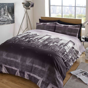Duvet-Cover-with-Pillow-Case-Bedding-Set-London-Skyline-Black-Grey-Union-Jack