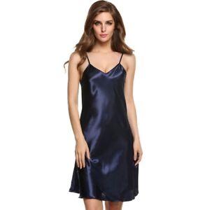 Women-Satin-Silk-V-Neck-Nightgown-Nightdress-Sleepwear-Robe-Babydoll-Lingerie