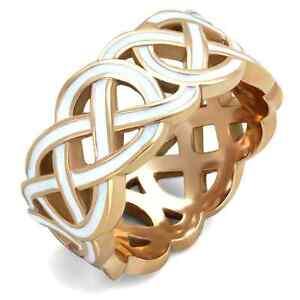 Celtic Filigree White Enamel Wedding Band Ring Anniversary