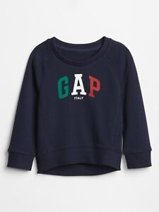 Bnew-GAP-Toddler-Raglan-Flag-Gap-Logo-Sweatshirt-Italy-2yrs-old