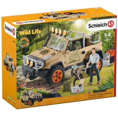 Schleich Vie sauvage croco 4 x 4 avec treuil chimpanzé et RANGER Figure