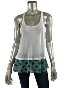 Anna-Sui-Tank-Top-S-White-Stretch-Knit-Scoop-Green-Polka-Dot-Chiffon-Trim-Shirt