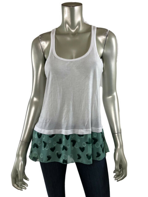 Anna Sui Tank Top S White Stretch Knit Scoop Green Polka Dot Chiffon Trim Shirt