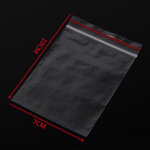 100 pequeños Plástico Transparente Bolso Agarre Sello del uno mismo resellable Resellables Zip Lock 7*10cm