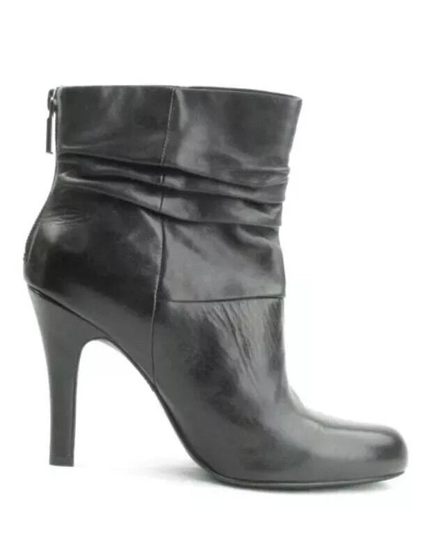 INC BLACK LEATHER ANKLE BOOTS SZ 8 BACK ZIP