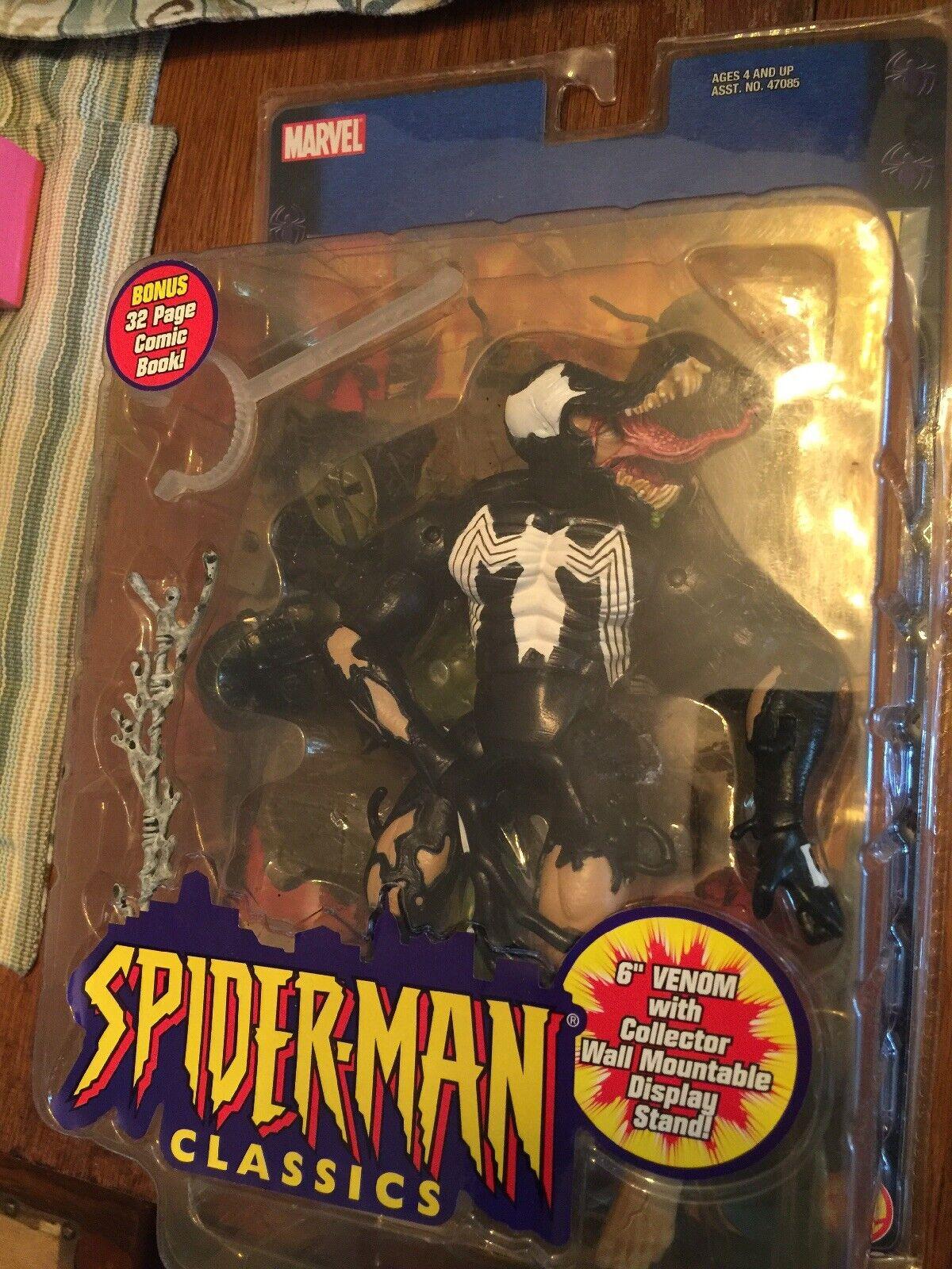 Marvel SPIDER-MAN CLASSICS VENOM W  32 Page Comic & Wall Mount Toy biz NIP