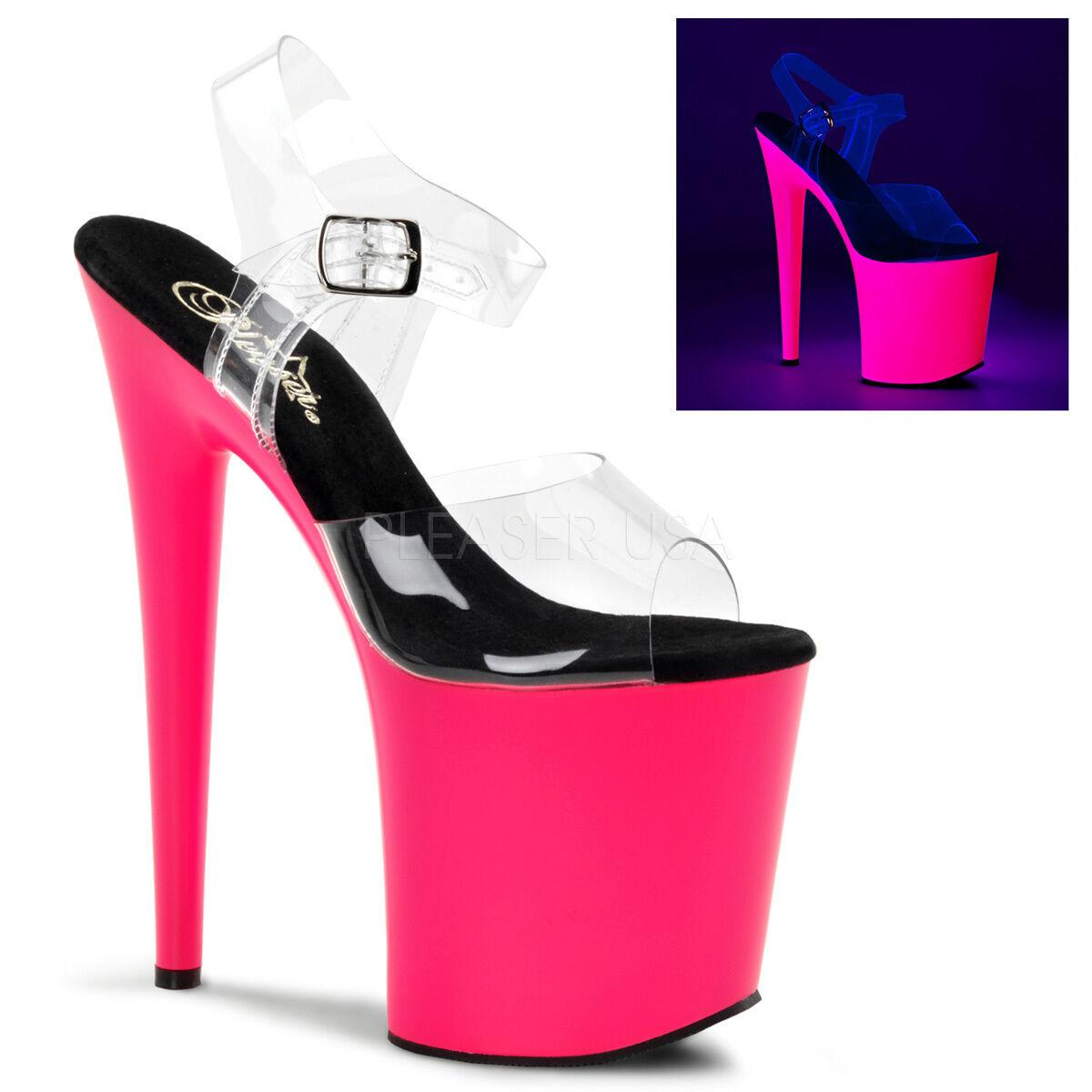 PLEASER FLAM808UV/C/NP UV Neon Hot Pink Platform 8