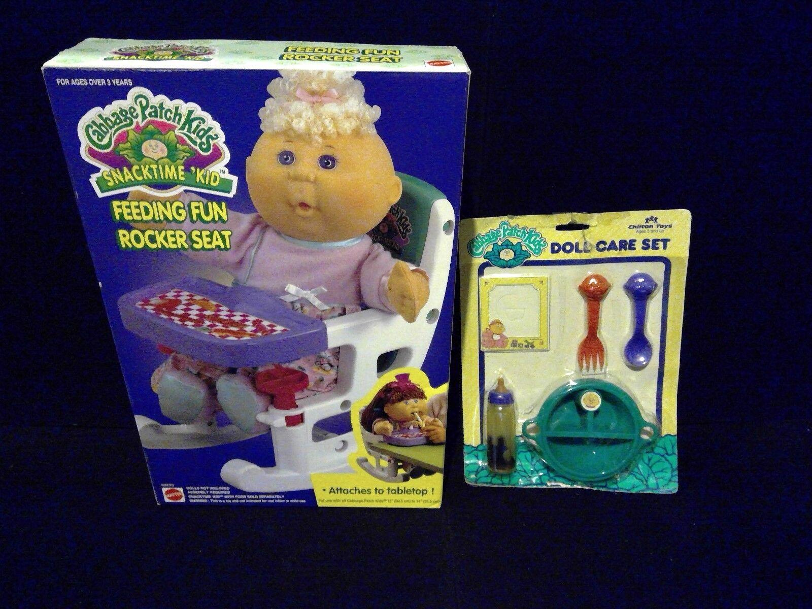 Lote de 2 de colección años 90 Cabbage Patch Kids alimentación Diversión Silla Alta & Play Juego De Alimentos  nuevo