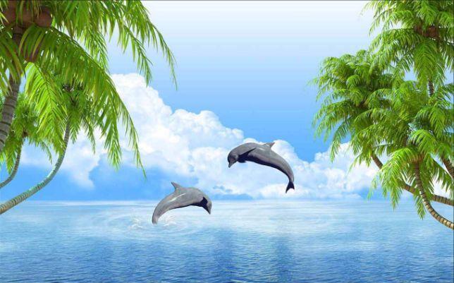 3D Zwei nette Delphin 9809 Fototapeten Wandbild Fototapete BildTapete Familie
