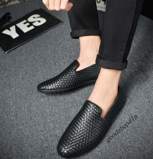 Mens Fashion Woven Breathable Slip On Casual Driving PU Leather Shoes Loafer New