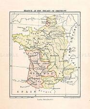 MAP REPRO ANTIQUE STANFORD FRANCE 1360 TREATY BRETIGNY LARGE ART PRINT LF913