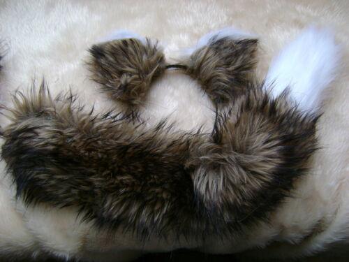 LONG LUSSO Marrone ORECCHIE VOLPE con coda di confronto BIANCO LUSSO pelliccia sintetica PESA Set