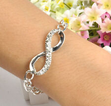 "korean Silver Charm Metal ""8"" Shape Curved Sideways Crystal Bracelet New"