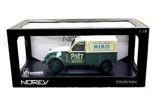Norev Citroen 2 Cv Fourgonnette Miko Beige/vert 1/18 Voiture Miniature