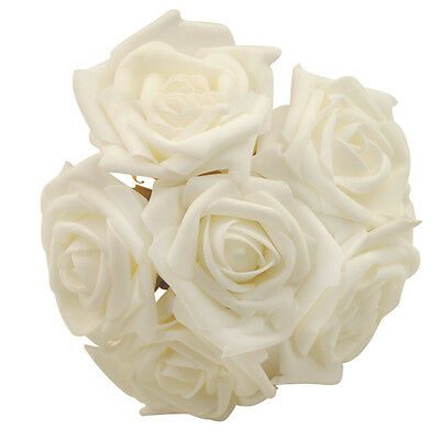 DIY 6 Head Real Touch Foam Rose Flowers For wedding Bouquet Decoration 3 Colors