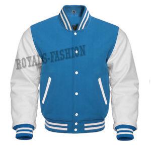 de de lana manga Blue Baseball Varsity blanco Sky de Superb chaqueta y cuero genuino w4q8WXI