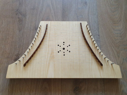 15 Strings Plucked Psaltery Lacewood with extra string set Tuning Key and Bow