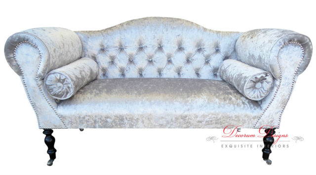 REDUCED TO CLEAR Crushed Silver Velvet Double Ended Chaise Sofa