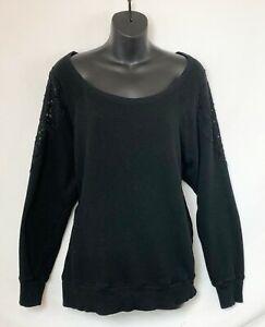 Torrid-Women-039-s-Plus-Size-Black-Long-Sleeve-Sweater-w-Lace-Detail-Boat-Neck-Sz-2