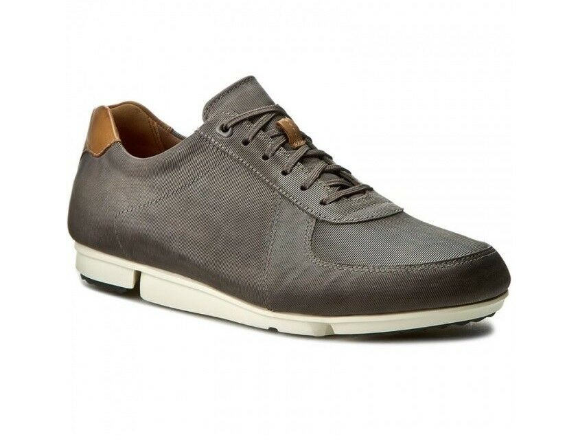 NEW CLARKS TRIGENIC TRITURN RACE EXTRA LIGHT 9.5 grey LEATHER TRAINERS SHOES 9.5 LIGHT 8c100a