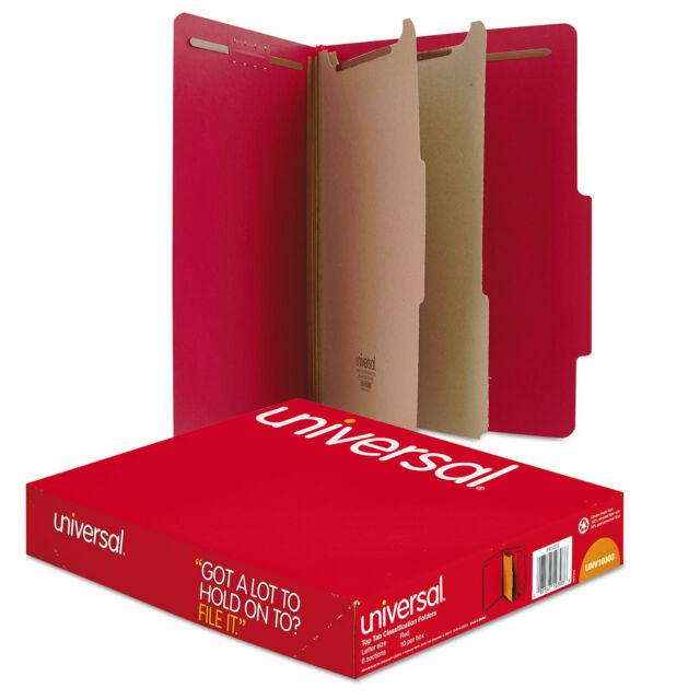 Universal Pressboard Classification Folders Letter Six-Section Ruby Red 10/Box
