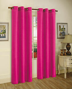 2pcs mira hot pink solid grommet faux silk window curtains panels 63